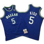 Camiseta Dallas Mavericks Jason Kidd NO 5 Mitchell & Ness Hardwood Classics Azul
