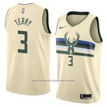 Camiseta Milwaukee Bucks Jason Terry #3 Ciudad 2018 Crema