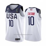Camiseta USA Jayson Tatum #10 2019 FIBA Basketball World Cup Blanco