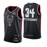 Camiseta All Star 2019 Milwaukee Bucks Giannis Antetokounmpo #34 Negro