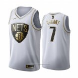 Camiseta Golden Edition Brooklyn Nets Kevin Durant NO 7 Blanco