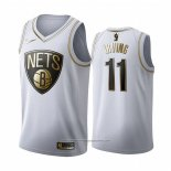 Camiseta Golden Edition Brooklyn Nets Kyrie Irving NO 11 Blanco