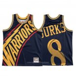 Camiseta Golden State Warriors Alec Burks NO 8 Mitchell & Ness Big Face Azul