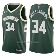 Camiseta Milwaukee Bucks Giannis Antetokounmpo #34 2017-18 Verde