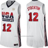 Camiseta USA 1992 John Stockton #12 Blanco
