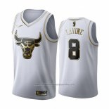 Camiseta Golden Edition Chicago Bulls Zach Lavine NO 8 2019-20 Blanco