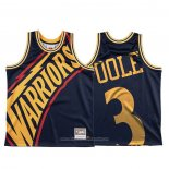 Camiseta Golden State Warriors Jordan Poole NO 3 Mitchell & Ness Big Face Azul