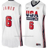 Camiseta USA 1992 Lebron James #6 Blanco