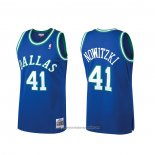Camiseta Dallas Mavericks Dirk Nowitzki NO 41 Mitchell & Ness Hardwood Classics Azul