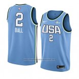 Camiseta 2019 Rising Star Lonzo Ball #2 World Azul