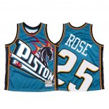 Camiseta Detroit Pistons Derrick Rose NO 25 Mitchell & Ness Big Face Azul