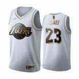 Camiseta Golden Edition Los Angeles Lakers Lebron James NO 23 Blanco