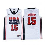 Camiseta USA 1992 Carmelo Anthony #15 Blanco