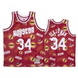 Camiseta Houston Rockets Hakeem Olajuwon NO 34 Hardwood Classics Tear Up Pack Rojo