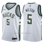 Camiseta Milwaukee Bucks D.j. Wilson #5 Swingman Association 2017-18 Blanco