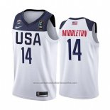 Camiseta USA Khris Middleton #14 2019 FIBA Basketball World Cup Blanco