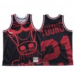 Camiseta Chicago Bulls Thaddeus Young NO 21 Mitchell & Ness Big Face Negro