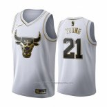 Camiseta Golden Edition Chicago Bulls Thaddeus Young NO 21 2019-20 Blanco