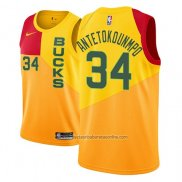 Camiseta Milwaukee Bucks Giannis Antetokounmpo #34 Ciudad 2018-19 Amarillo