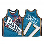 Camiseta Detroit Pistons Tony Snell NO 17 Mitchell & Ness Big Face Azul