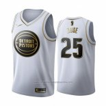 Camiseta Golden Edition Detroit Pistons Derrick Rose NO 25 2019-20 Blanco