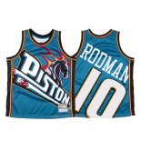 Camiseta Detroit Pistons Dennis Rodman NO 10 Mitchell & Ness Big Face Azul
