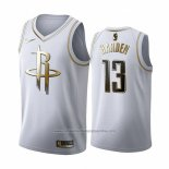 Camiseta Golden Edition Houston Rockets James Harden NO 13 2019-20 Blanco