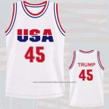 Camiseta USA 1992 Donald Trump #45 Blanco