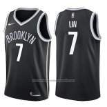Camiseta Brooklyn Nets Jeremy Lin #7 Icon 2017-18 Negro