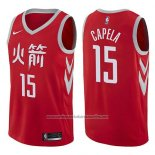 Camiseta Houston Rockets Clint Capela #15 Ciudad 2017-18 Rojo