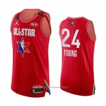 Camiseta All Star 2020 Atlanta Hawks Trae Young NO 24 Autentico Rojo