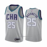 Camiseta Charlotte Hornets P. J. Washington NO 25 Ciudad Edition Gris