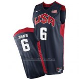 Camiseta USA 2012 Lebron James #6 Negro