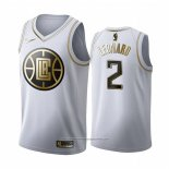 Camiseta Golden Edition Los Angeles Clippers Kawhi Leonard NO 2 Blanco