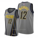 Camiseta Indiana Pacers T.j. Mcconnell NO 12 Ciudad Gris