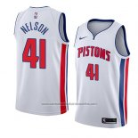 Camiseta Detroit Pistons Jameer Nelson #41 Association 2017-18 Blanco