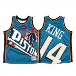 Camiseta Detroit Pistons Louis King NO 14 Mitchell & Ness Big Face Azul