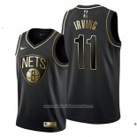 Camiseta Golden Edition Brooklyn Nets Kyrie Irving NO 11 Negro
