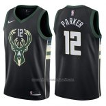 Camiseta Milwaukee Bucks Jabari Parker #12 Statement Harley 2017-18 Negro