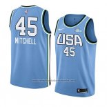 Camiseta 2019 Rising Star Donovan Mitchell #45 World Azul