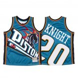 Camiseta Detroit Pistons Brandon Knight NO 23 Mitchell & Ness Big Face Azul