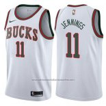 Camiseta Milwaukee Bucks Brandon Jennings #11 Classic 2017-18 Blanco