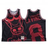 Camiseta Chicago Bulls Zach Lavine NO 8 Mitchell & Ness Big Face Negro