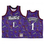Camiseta Toronto Raptors Tracy Mcgrady NO 1 Hardwood Classics Tear Up Pack Violeta