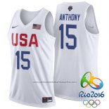 Camiseta USA 2016 Carmelo Anthony #15 Blanco