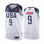 Camiseta USA Jaylen Brown #9 2019 FIBA Basketball World Cup Blanco