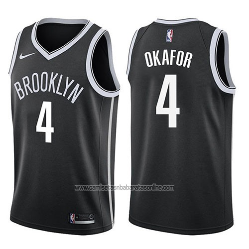 Camiseta Brooklyn Nets Jahlil Okafor #4 Icon 2017-18 Negro