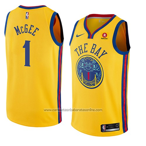 Camiseta Golden State Warriors Javale Mcgee #1 Ciudad 2018 Amarillo